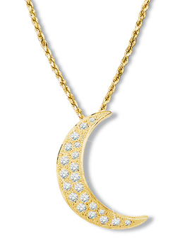 Crescent Moon Diamond Pendant