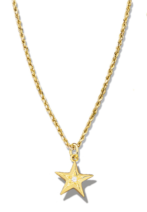 Star Pendant Faceted Single Diamond