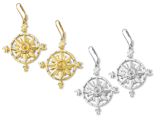 Compass Rose Dangle Earrings