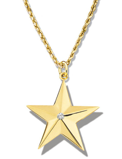 Star Large Faceted Single Diamond Pendant