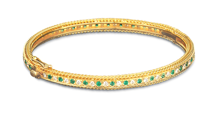 Rope Bands Bracelet Emerald/Diamond 7