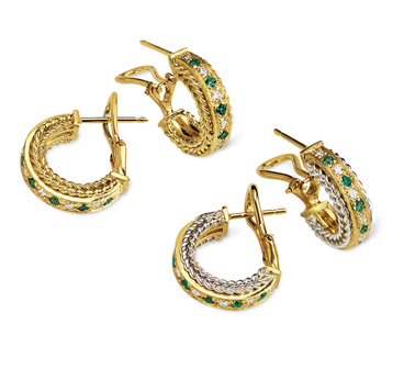 Rope Bands Earrings Emerald/Diamond