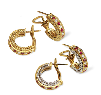 Rope Bands Earrings Ruby/Diamond