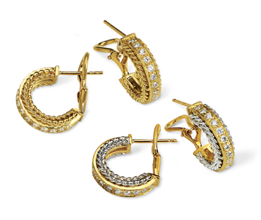 Rope Bands Earrings Diamond