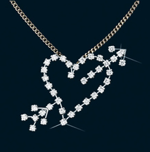 Diamond Heart with Arrow Pendant