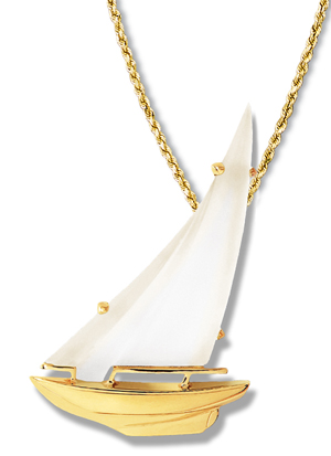 Sloop Frosted Crystal Sail Pendant