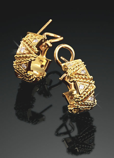 Rope Wrap Earrings Diamond