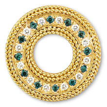 Rope Bands Circle Pin Emerald/Diamond