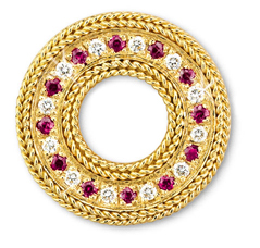 Rope Bands Circle Pin Ruby/Diamond