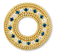 Rope Bands Circle Pin Sapphire/Diamond