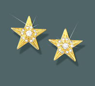 Star Earrings Faceted w/diamonds
