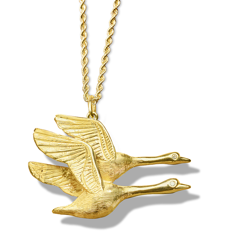 Geese Pair Flying with Diamond Eyes Pendant