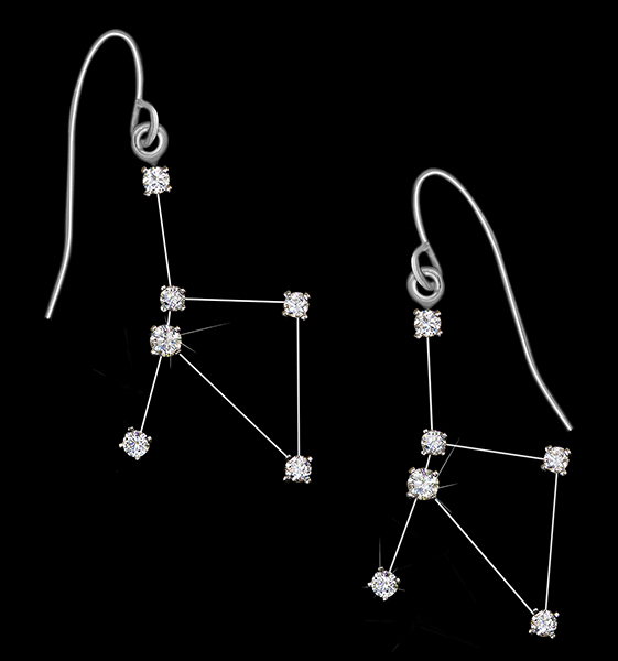 Diamond Constellation Cancer Earrings