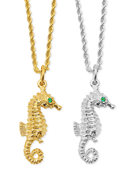 Seahorse with Emerald Eyes Pendant
