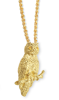 Owl with Yellow Sapphire Eyes  Pendant