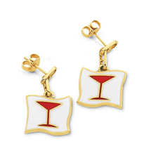 Cocktail Glass Enamel Earrings
