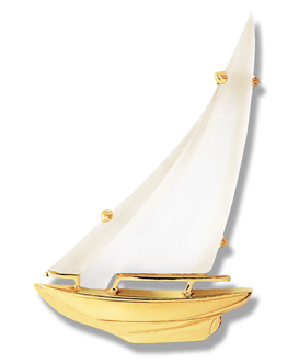Sloop Frosted Crystal Sail Pin