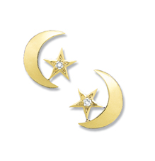 Crescent Moon/Star Diamond Earrings