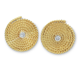 Flemish Coil with Diamond Earrings