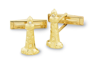 Lighthouse Cuff Links w/Diamond Beacon