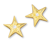 Star Earrings Faceted Single Diamond