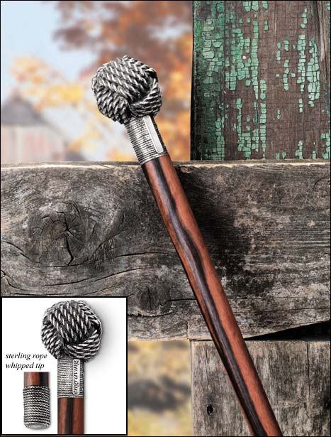 Monkey's Fist Walking Stick-Maccassar Ebony and  36
